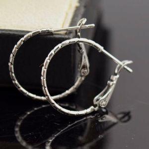 "Jewelry - 18k White Gold Carved Hoop Earrings 20mm .78"""
